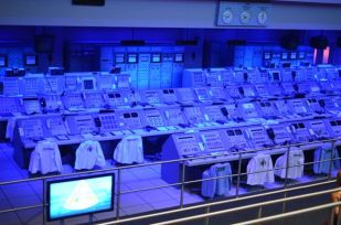 FIRING ROOM LAID OUT EXACTLY AS IT HAD BEEN DURING THE LAUNCH OF THE USA'S FIRST SUCCESSFUL MANNED MISSION TO SPACE.