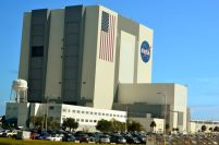 """VEHICLE ASSEMBLY BUILDING WHERE THE SHUTTLES ARE CONSTRUCTED. THESE ARE THE LARGEST """"GARAGE DOORS"""" IN THE WORLD AND TAKE 45 MINUTES TO OPEN!"""